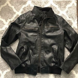 Guess leather bomber jacket size small black zip